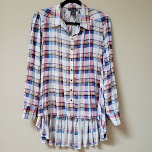 Chelsea & Theodore Plaid Button Up Top